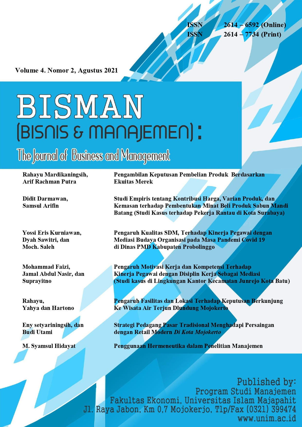 Our editor Publish at Bisman's Journal